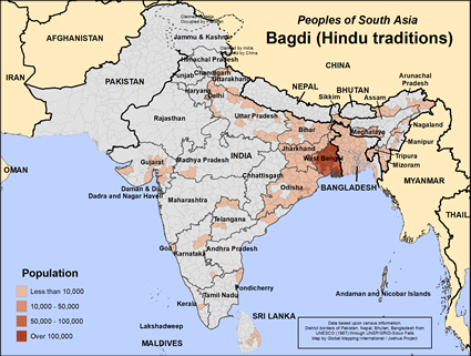 Map of Bagdi (Hindu traditions) in India