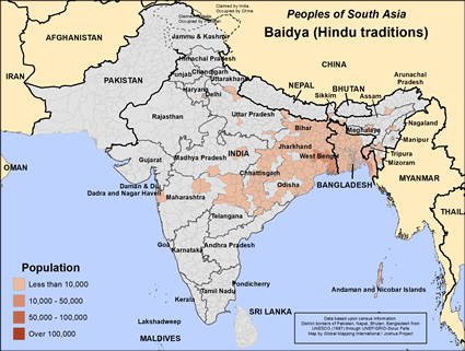 Map of Baidya (Hindu traditions) in India