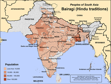 Map of Bairagi (Hindu traditions) in Nepal