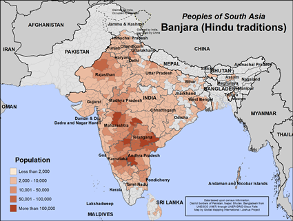 Map of Banjara (Hindu traditions) in India