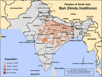 Map of Bari (Hindu traditions) in Nepal