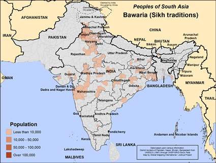 Map of Bawaria (Sikh traditions) in India