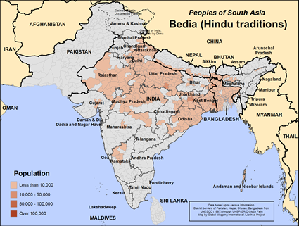 Map of Bedia (Hindu traditions) in India