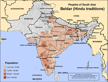 Map of Beldar (Hindu traditions) in India