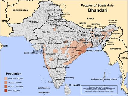 Map of Bhandari in India