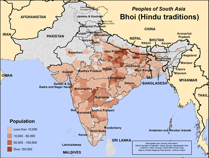Map of Bhoi (Hindu traditions) in India