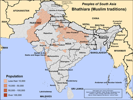 Map of Bhathiara (Muslim traditions) in India