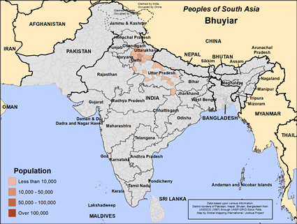 Map of Bhuyiar in India