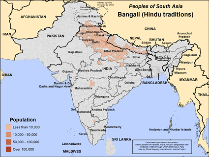 Map of Bangali (Hindu traditions) in India