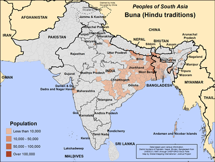 Map of Buna (Hindu traditions) in India