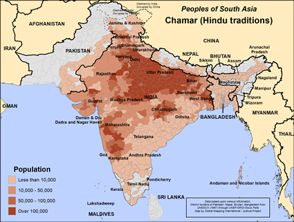 Map of Chamar (Hindu traditions) in Bangladesh