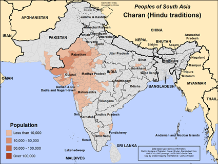 Map of Charan (Hindu traditions) in India