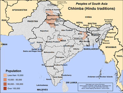 Map of Chhimba (Hindu traditions) in India