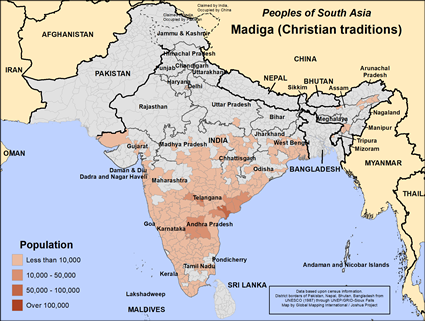 Map of Madiga (Christian traditions) in India