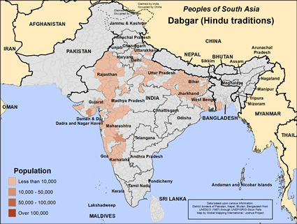 Map of Dabgar (Hindu traditions) in India