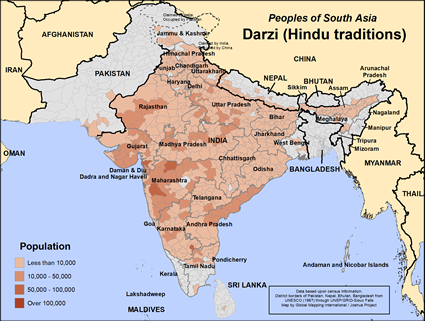 Map of Darzi (Hindu traditions) in India