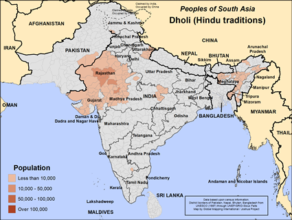 Map of Dholi (Hindu traditions) in India