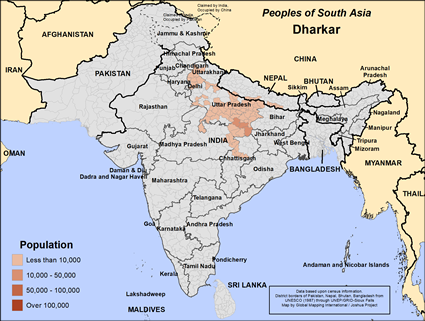 Map of Dharkar in Nepal