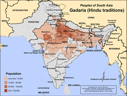 Map of Gadaria (Hindu traditions) in Nepal