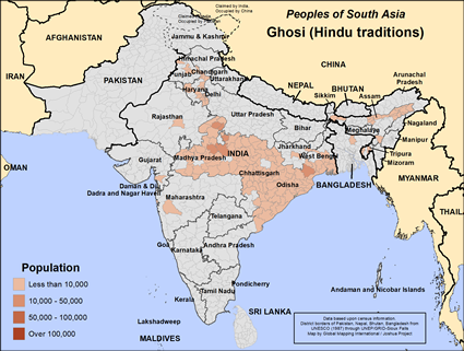 Map of Ghosi (Hindu traditions) in India