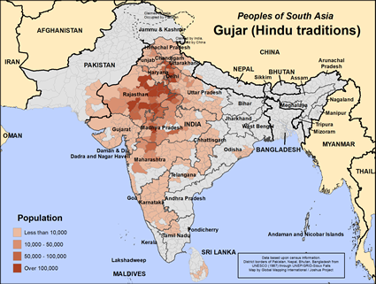 Map of Gujar (Hindu traditions) in India