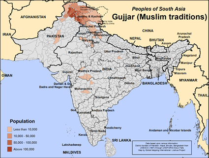 Map of Gujjar (Muslim traditions) in India