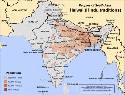 Map of Halwai (Hindu traditions) in Nepal