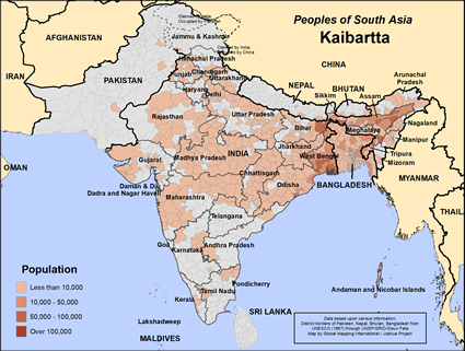 Map of Kaibartta in India
