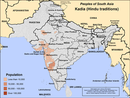 Map of Kadia (Hindu traditions) in India