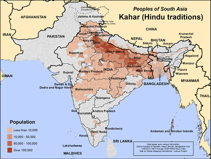 Map of Kahar (Hindu traditions) in Bangladesh