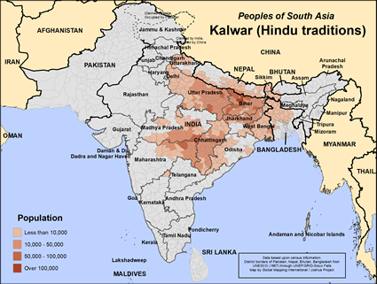 Map of Kalwar (Hindu traditions) in India