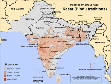 Map of Kasar (Hindu traditions) in India