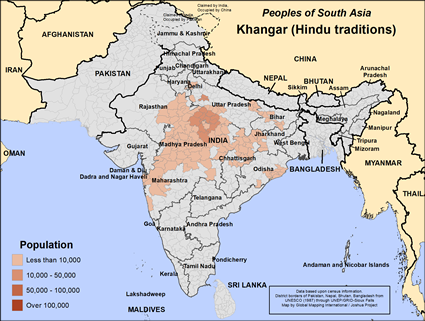 Map of Khangar (Hindu traditions) in India