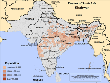 Map of Khairwar in India