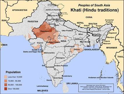 Map of Khati (Hindu traditions) in India