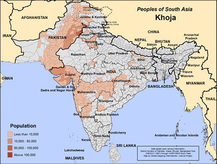 Map of Khoja in India
