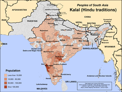 Map of Kalal (Hindu traditions) in India