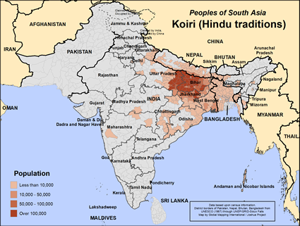 Map of Koiri (Hindu traditions) in Nepal