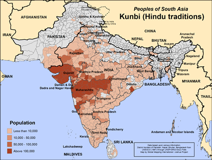 Map of Kunbi (Hindu traditions) in India
