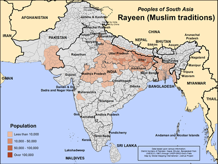 Map of Rayeen (Muslim traditions) in Bangladesh