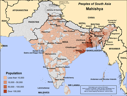 Map of Mahishya in India