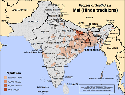 Map of Mal (Hindu traditions) in Bangladesh