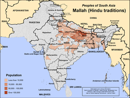 Map of Mallah (Hindu traditions) in India