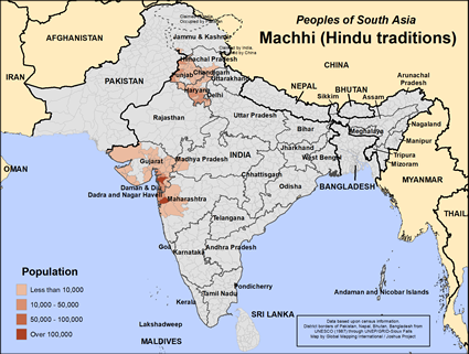 Map of Machhi (Hindu traditions) in India