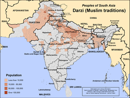 Map of Darzi (Muslim traditions) in India