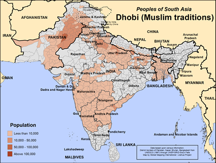Map of Dhobi (Muslim traditions) in Bangladesh