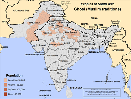 Map of Ghosi (Muslim traditions) in India