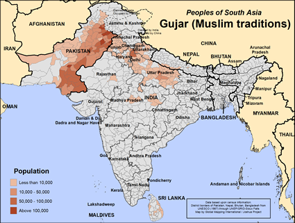 Map of Gujar (Muslim traditions) in India