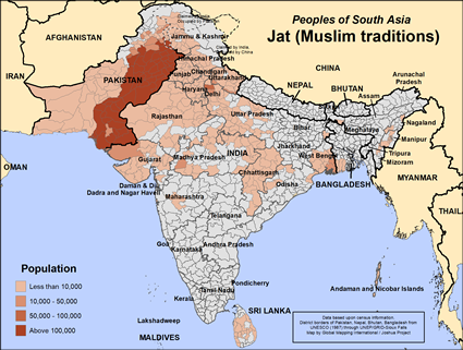 Map of Jat (Muslim traditions) in Pakistan