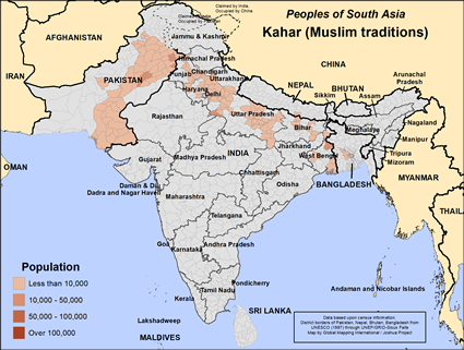 Map of Kahar (Muslim traditions) in India